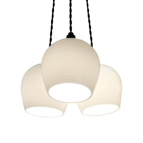 Bell 3-Drop White, Opal white lighting, contemporary ceiling lighting, contemporary pendant lights