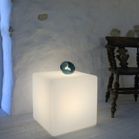 Bell Push Table Lamp,Teal Blue, handmade lighting, mouthblown,glass, Solid, beautiful glass, unique form, contemporary lighting