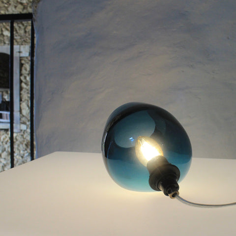 Bell Push Table Lamp, Teal Blue, handmade lighting, mouthblown,glass, Solid, beautiful glass, unique form, contemporary lighting