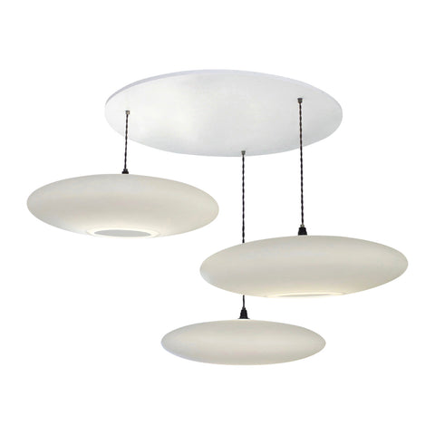3-Drop Suspension lighting, One Foot Taller, Ethel Inverse, white calm diffuse light