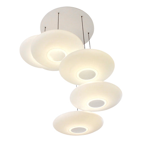 6-Drop Suspension lighting, One Foot Taller, Ethel Inverse, white calm diffuse light, stairwell lighting
