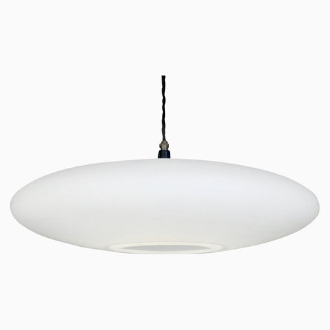 contemporary pendant lighting, wide ceiling light, 600mm diameter pendant light, clean lighting, made in UK lighting