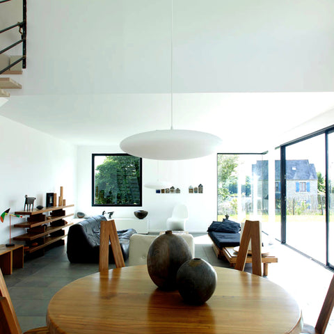 Ethel Lampshade hung low in contemporary interior, Scandinavian interior with Ethel lighting.