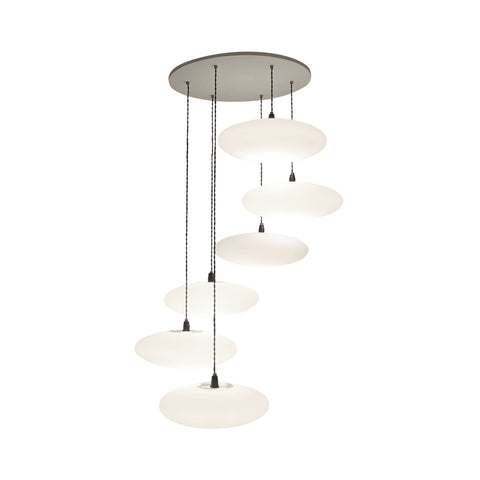 Etheletta 6 Drop Lighting Suspension, Etheletta 6-Drop Suspension, Calm white lighting, stairwell lighting