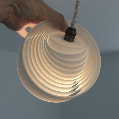Whip Suspension pendant lighting, directional, malleable form, manipulate pieces, flattened, collapsed