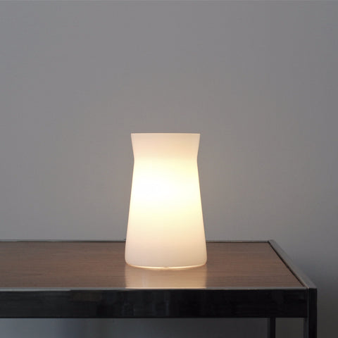 Waisted Table Lamp. Simple elegant table lighting. White glass lamp. Hand made in UK