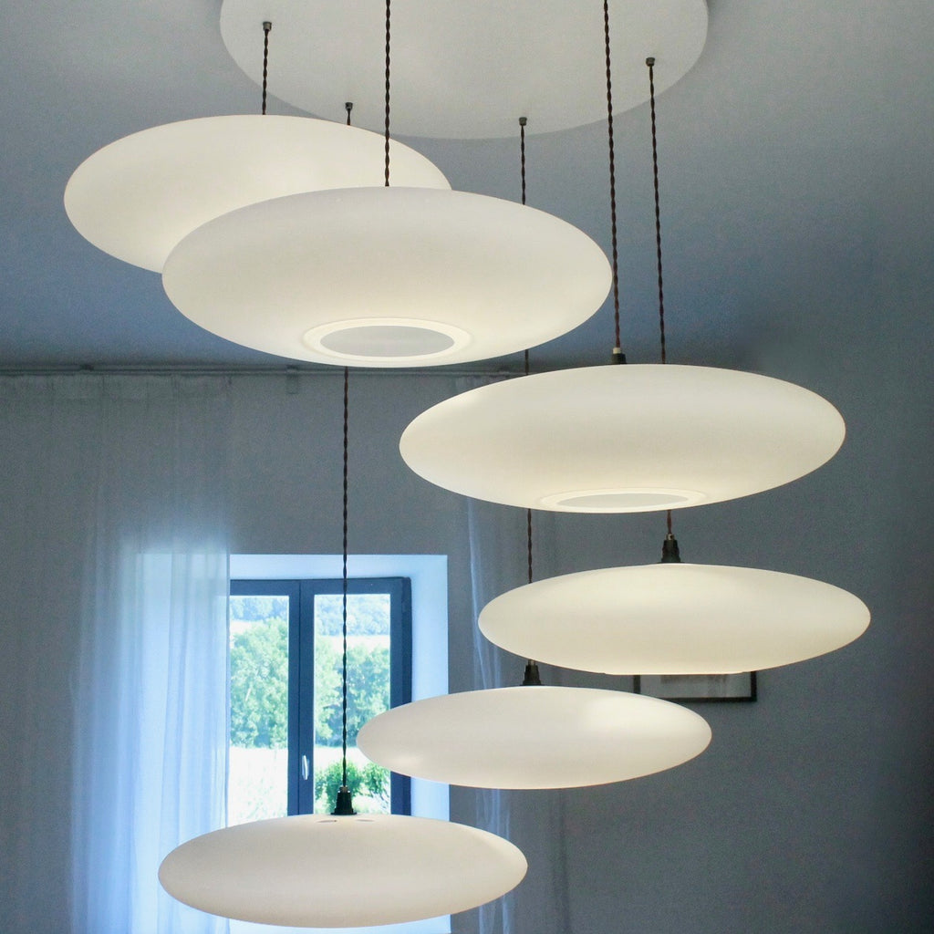 6-Drop Suspension lighting, One Foot Taller, Ethel Inverse, white calm diffuse light, stairwell lighting, pendant lights