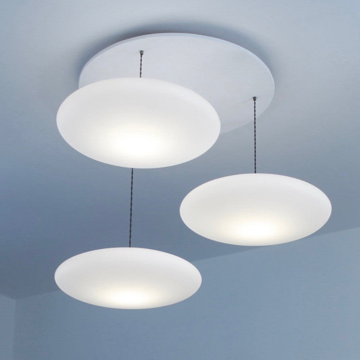 Ethel 3-Drop Suspension lighting. Calm elegant contemporary lighting, One Foot Taller