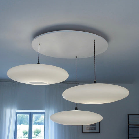 Ethel Inverse 3-Drop Suspension lighting, One Foot Taller, white contemporary lighting drop,  lighting