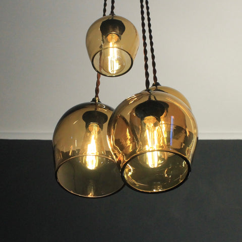 Contemporary glass lighting, Bell Various 4-Drop, glass pendant lighting, ceiling light, wall lighting, bedside lighting, quality glass lighting, made in UK