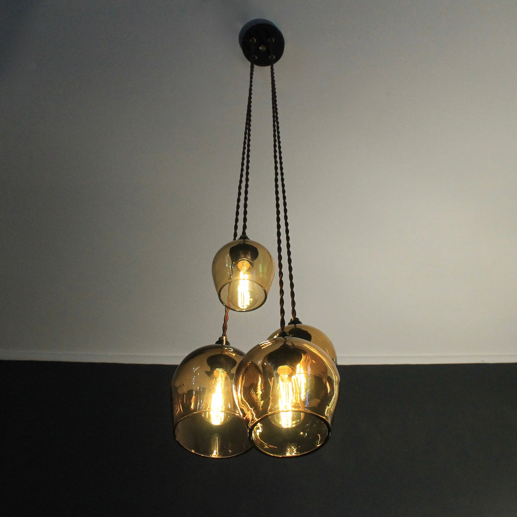 Glass pendant lighting, amber lighting, ceiling light, wall lighting, bedside lighting, quality glass lighting, made in UK