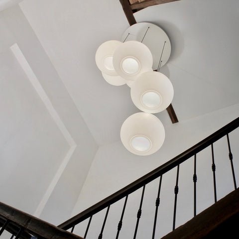 Polly Inverse 6-Drop, Stairwell lighting from One Foot Taller, hotel lobby lighting, multiple drop, ceiling lighting