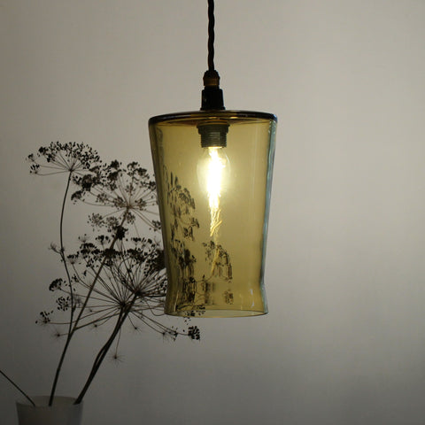 Waisted Flat Top Pendant in Honey, Elegant glass lighting, Contemporary lighting by One Foot Taller, Quality glass pendant