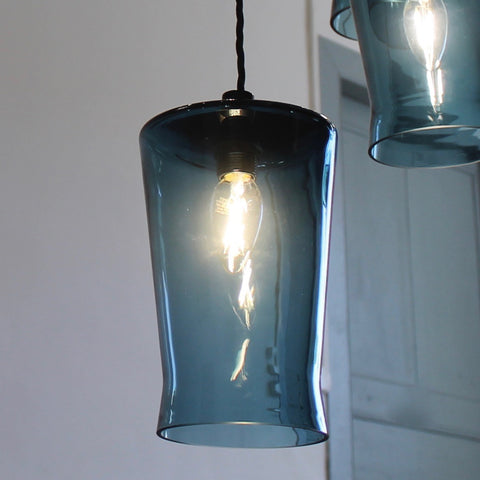 Waisted Flat Top Pendant in Teal Blue, Elegant glass lighting, Contemporary lighting by One Foot Taller, Quality glass pendant