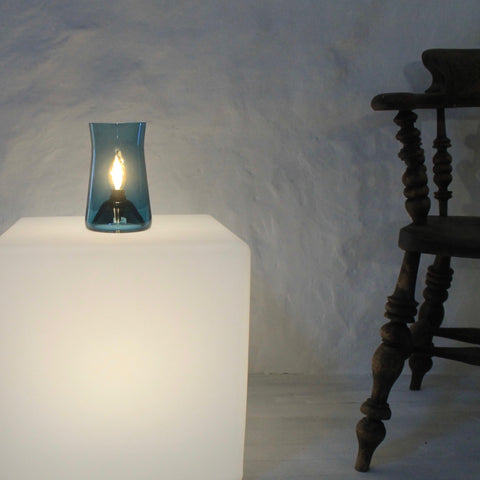 Waisted Table Lamp. Simple elegant table lighting. Teal Blue glass lamp. Hand made in UK