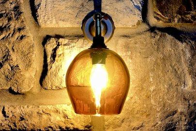waisted pendant lighting, quality glass contemporary lighting made in UK, beautiful amber glass, honey glass