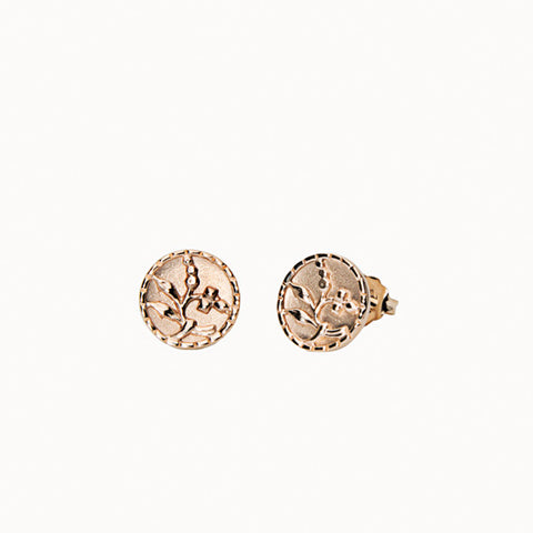 Antique 14K Gold In Bloom Studs
