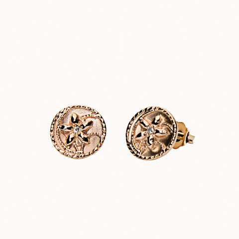 Antique 14K Gold and Diamond Flora Studs