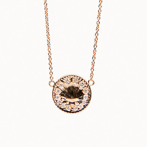 Antique 14K Gold and Diamond Shell Necklace