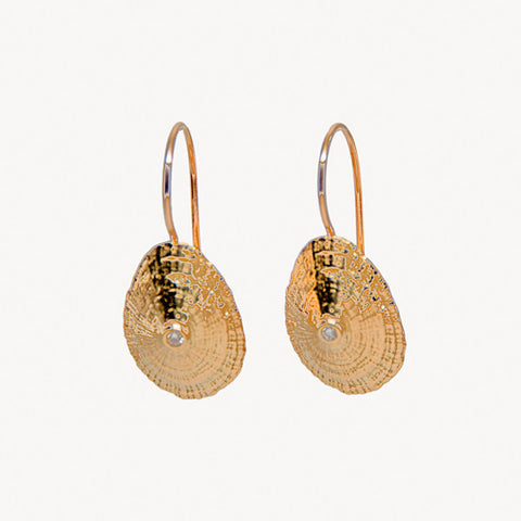 Unique 14K Gold and Diamond Fiji Earrings