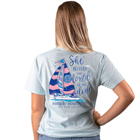 She Believed She Could Boat Simply Southern Ice Tee