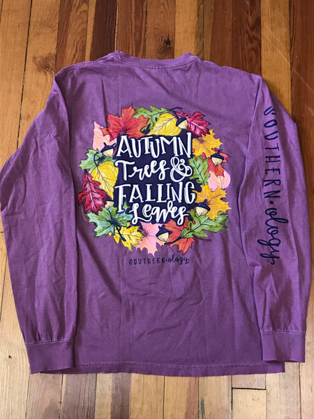Autumn Trees & Falling Leaves Southernology Comfort Color Long Sleeve Tee