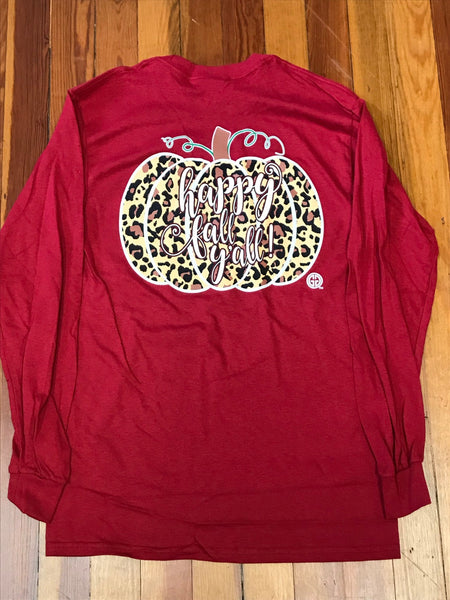 Happy Fall Y'all Leopard Pumpkin Girlie Girl Tee