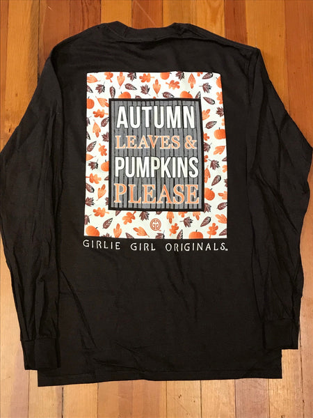 Autumn Leaves & Pumpkins Please Girlie Girl Tee