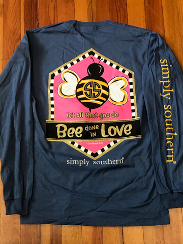 Bee Done in Love Simply Southern Long Sleeve Tee