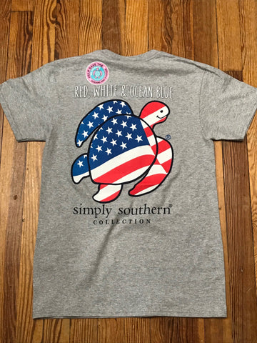 Red, White, & Ocean Blue Save the Turtles Simply Southern YOUTH Tee
