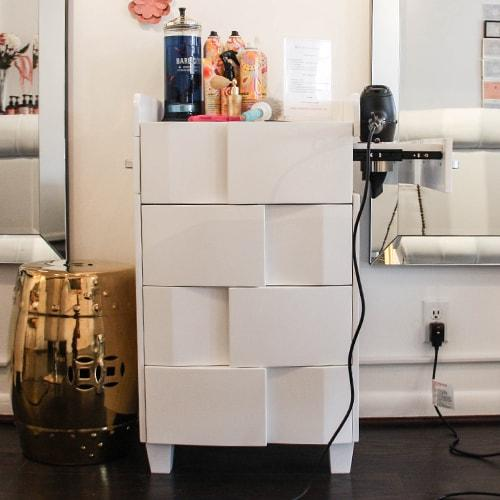 Pearl White Styling Station Stand by Keller International