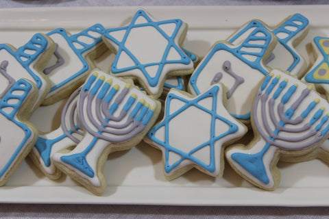 Hanukkah Sugar Cookies - Dreidel, Star of David, Menorah  Set of 6