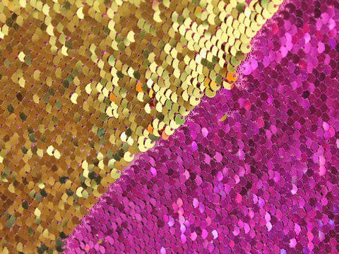 Mermaid Sequins- Fuchsia/Gold