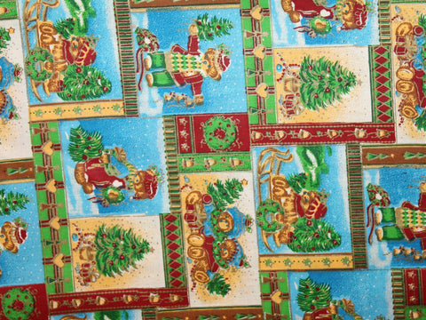 Teddy Bear Christmas Cotton -  - Golden D'or Fabrics