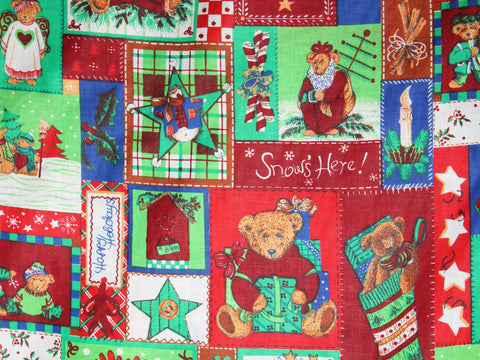 Teddy Bear Patchwork Christmas Cotton -  - Golden D'or Fabrics