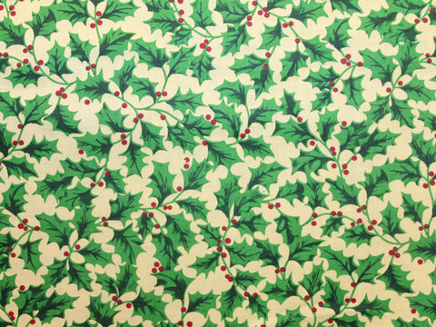 Christmas Holly Cotton -  - Golden D'or Fabrics