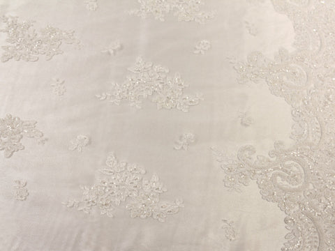 Corded Beaded Lace- White -  - Golden D'or Fabrics