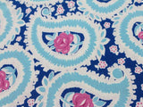 Pretty Paisley Cotton - Blue/navy/pink - Golden D'or Fabrics - 3