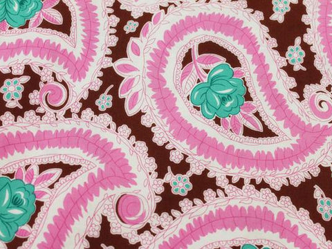 Pretty Paisley Cotton - Pink/brown/turquoise - Golden D'or Fabrics - 1