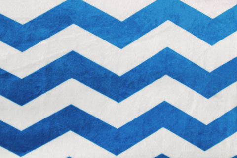 Large Minky Chevron - Blue/Off White - Golden D'or Fabrics - 1