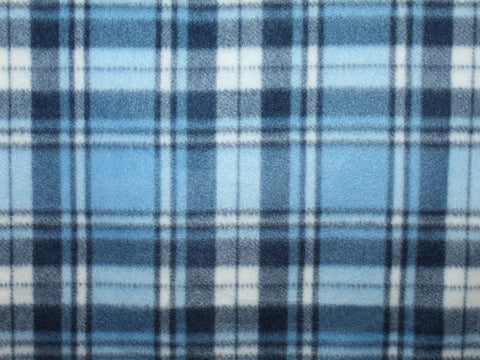 Herringbone Plaid Fleece- Blue -  - Golden D'or Fabrics