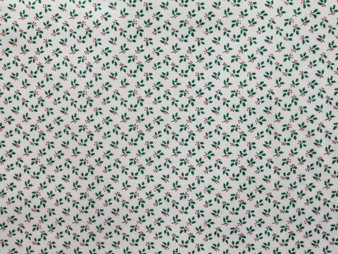 White Holly Christmas Cotton -  - Golden D'or Fabrics