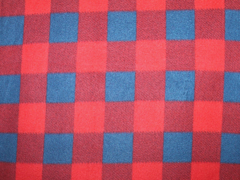 Kara Check Fleece- Red/Navy -  - Golden D'or Fabrics