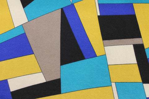 Geometric Print Knit - Royal/Turquoise/Multi - Golden D'or Fabrics - 1