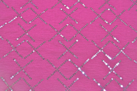 Sequin Knit - Hot Pink/Silver - Golden D'or Fabrics - 1