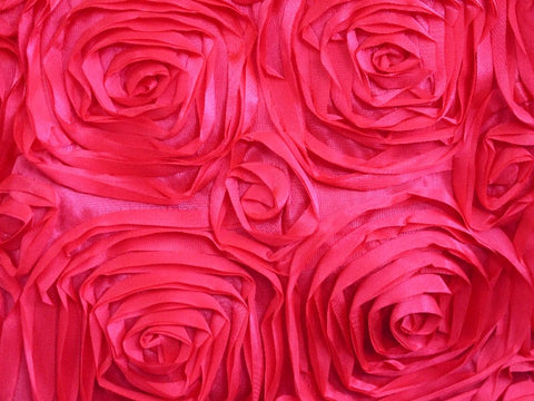 Poly Satin Flower Fabric Hot Pink