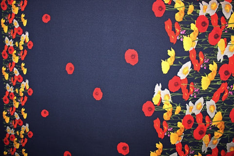 Printed Scuba Crepe- Navy Double Border Floral