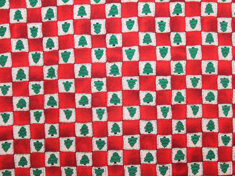 Red Tree Squares Christmas Cotton -  - Golden D'or Fabrics