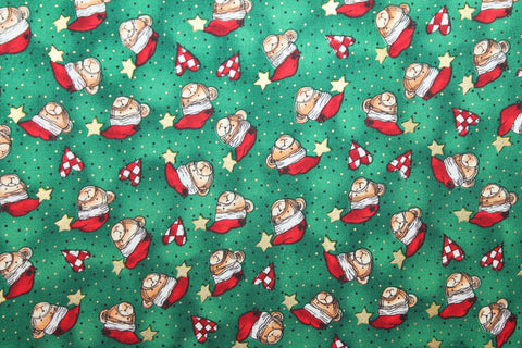 Santa Teddy Christmas Cotton -  - Golden D'or Fabrics