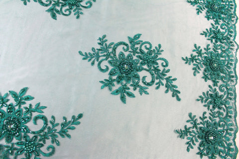 Hand Beaded Embroidered Lace- Jade -  - Golden D'or Fabrics